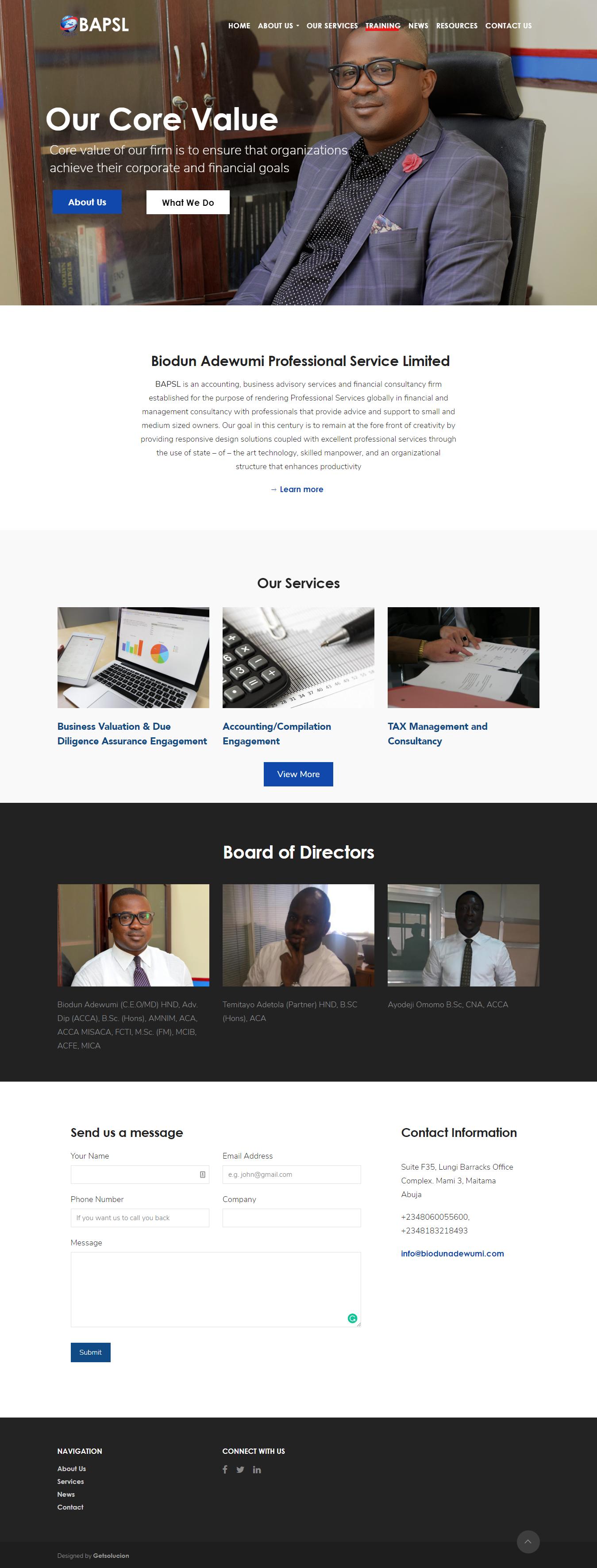 BAPSL Nigeria Website Design