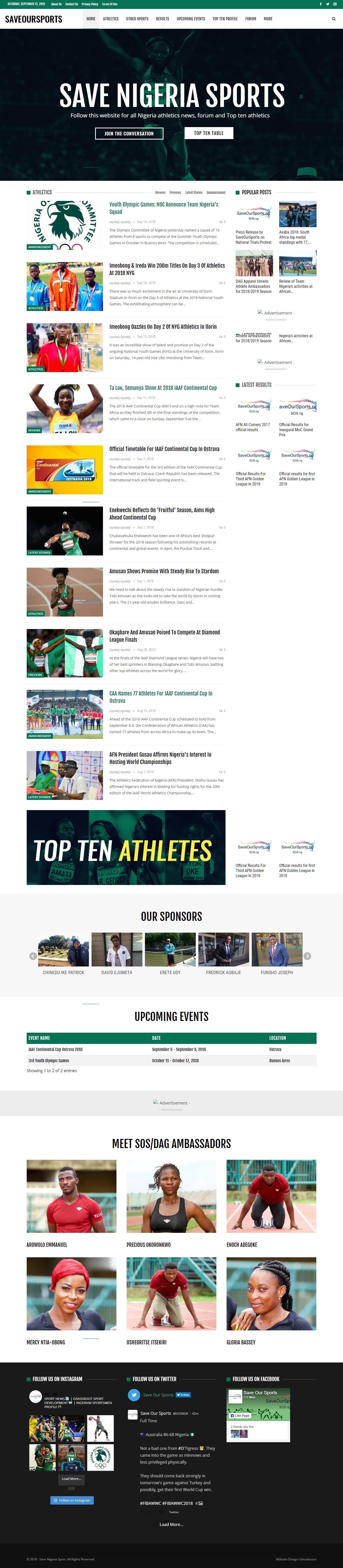 Save Our Sports Nigeria Website Design