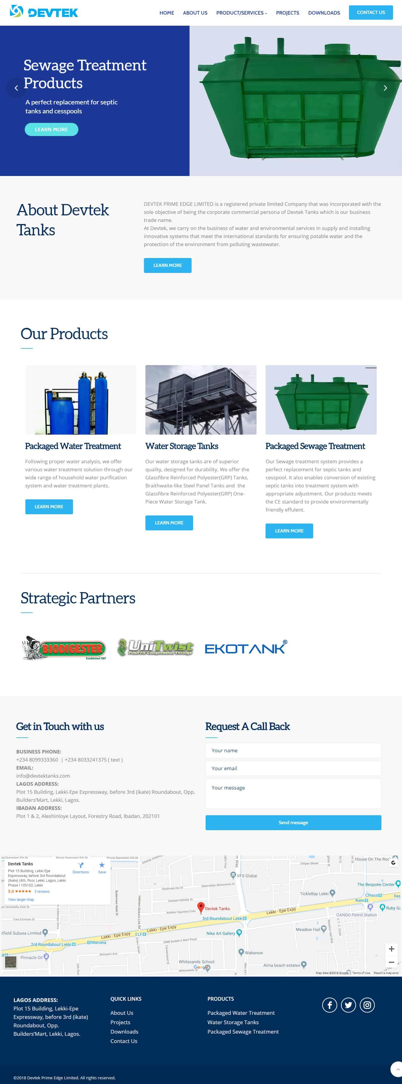 Devtek Tanks Nigeria Website Design